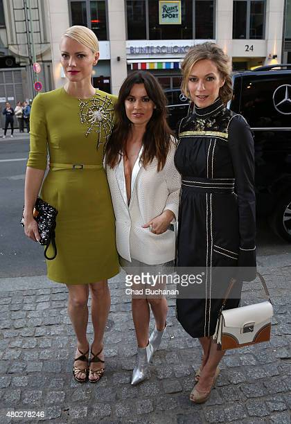 Francisca Knuppe Natalia Avelon and Lisa Martinek sighted arriving to Mercedes Benz Vogue Fashion Night at Borchardt's Restaurant on July 10 2015 in...