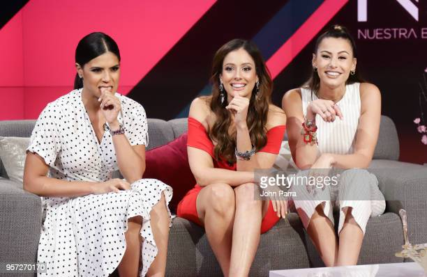 Francisca Lachapel Aleyda Ortiz and Nastassja Bolivar are seen during Facebook Live Nuestra Belleza Latina reunion at Univision's Newsport Studios on...