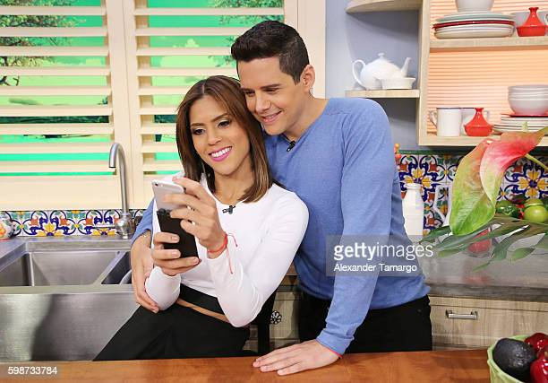 Francisca Lachapel and Alejandro Chaban are seen on the set of 'Despierta America' at Univision Studios on September 2 2016 in Miami Florida