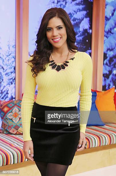 Francisca Lachapel is seen on the set of 'Despierta America' to promote the film '50 Shades of Black' at Univision Studios on January 28 2016 in...