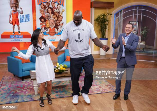 Francisca Lachapel Shaquille O'Neal and Alan Tacher are seen on the set of Despierta America at Univision Studios to promote the film Uncle Drew on...