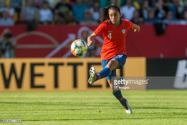 Francisca Lara of Chile controls the ball during the international friendly match between Germany Women and Chile Women at Continental Arena on May...