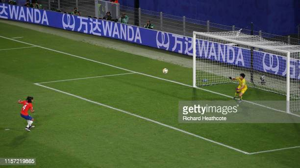Francisca Lara of Chile misses a penalty during the 2019 FIFA Women's World Cup France group F match between Thailand and Chile at Roazhon Park on...
