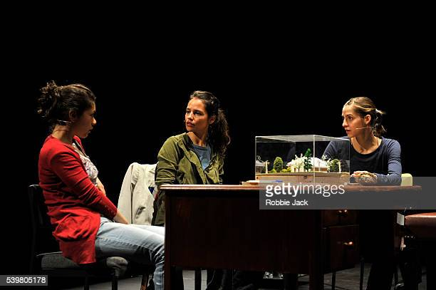 Francisca Lewin, Macarena Zamudio and Carla Romero in Teatro Playa's production of Guillermo Calderon's Villa directed by Guillermo Calderon at the...