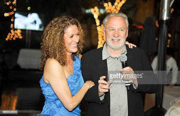 Francisca Moroder and Giorgio Moroder attend Giorgio Moroder's Surprise Birthday Party at Spago on April 26 2010 in Beverly Hills California