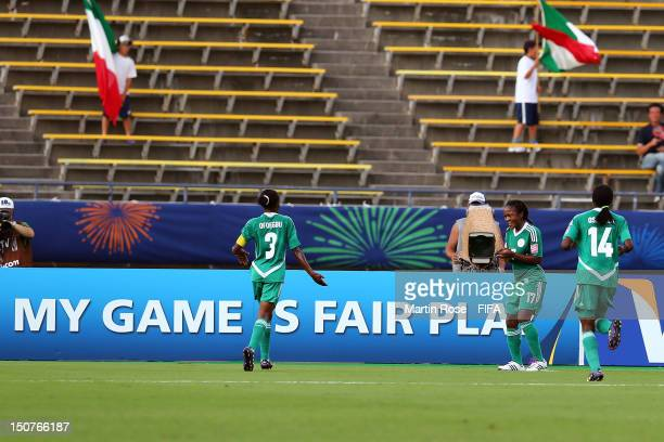 Francisca Ordega of Nigeria celebrates after she scores her team's opening goal during the FIFA U-20 Women's World Cup 2012 group B match between...