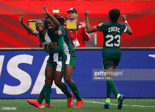 Francisca Ordega of Nigeria celebrates her gametying goal against Sweden with Asisat Oshoala and Ngozi Ebere during the FIFA Women's World Cup Canada...