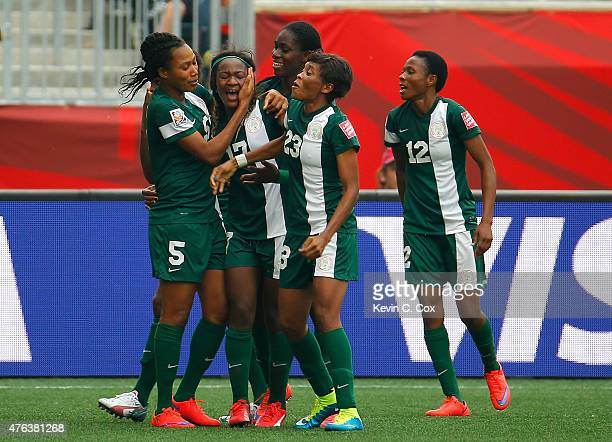 Francisca Ordega of Nigeria celebrates her gametying goal against Sweden with Onome Ebi Asisat Oshoala and Ngozi Ebere during the FIFA Women's World...