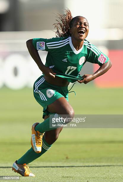 Francisca Ordega of Nigeria celebrates scoring a goal during the FIFA U20 Women's World Cup Japan 2012 Group B match between Brazil and Nigeria at...
