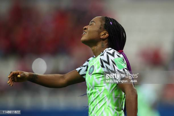 Francisca Ordega of Nigeria reacts during the 2019 FIFA Women's World Cup France group A match between Norway and Nigeria at Stade Auguste Delaune on...