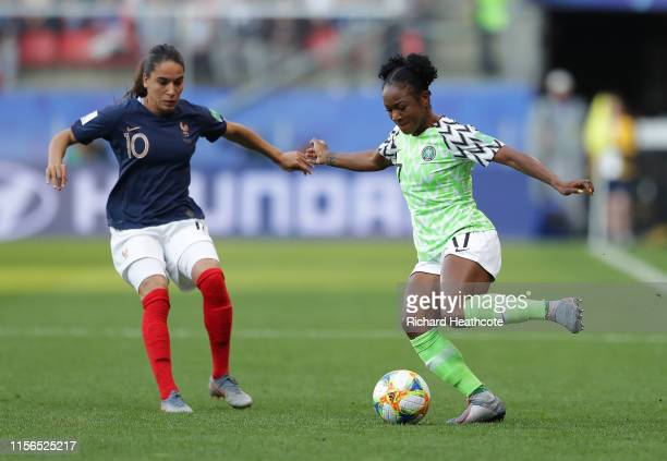Francisca Ordega of Nigeria takes on Amel Majri of France during the 2019 FIFA Women's World Cup France group A match between Nigeria and France at...
