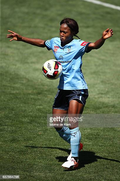 Francisca Ordega of Sydney wins the ball during the round 14 WLeague match between Adelaide United and Sydney FC at Coopers Stadium on January 29...