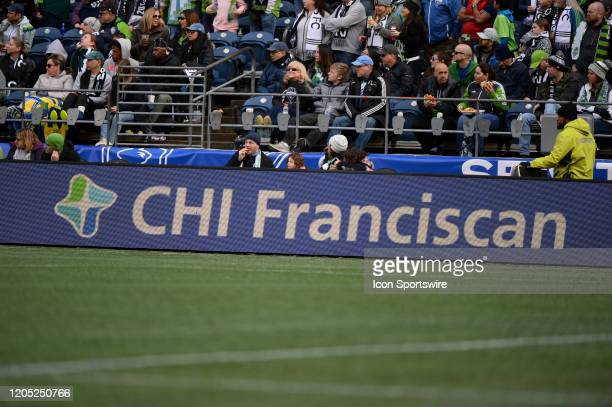 Franciscan ad board seen during a MLS match between the Chicago Fire and the Seattle Sounders at Century Link Field in Seattle WA