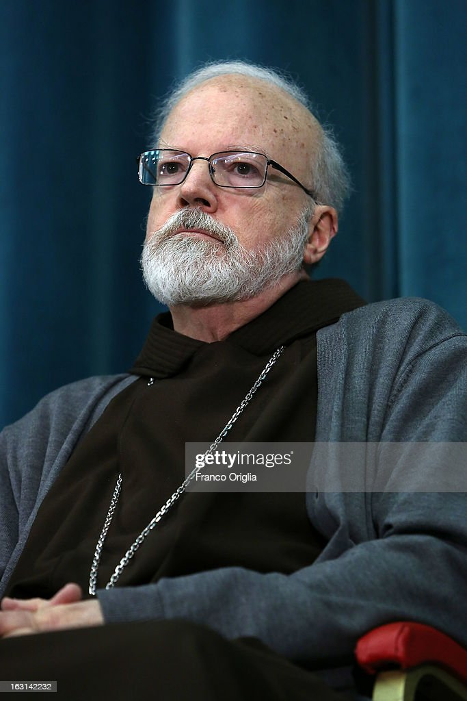 Franciscan archbischop of Boston cardinal Sean O'Malley attends a meeting with accreditated media at Vatican at the Pontifical North American College on March 5, 2013 in Vatican City, Vatican.