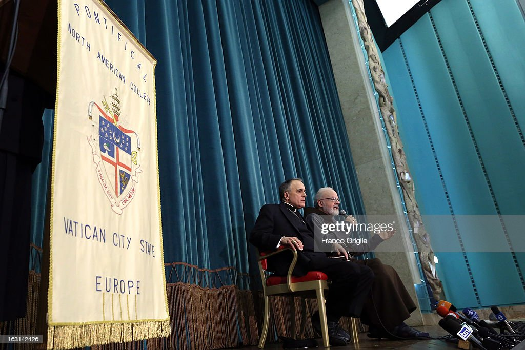 Franciscan archbischop of Boston cardinal Sean O'Malley (R) speaks beside Archbischop of Galveston-Houston cardinal Daniel Di Nardo during a meeting with accreditated media at Vatican at the Pontifical North American College on March 5, 2013 in Vatican City, Vatican.