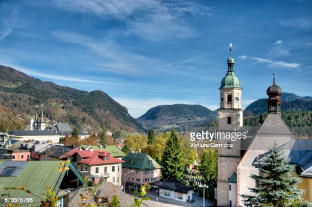franciscan church in berchtesgaden, germany - berchtesgaden national park stock photos and pictures