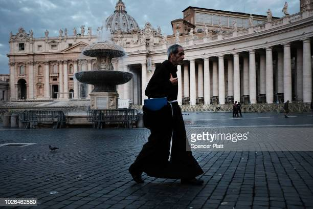 Franciscan Friar walks through St Peter's Square at dawn on September 03 2018 in Vatican City Vatican Tensions in the Vatican are high following...