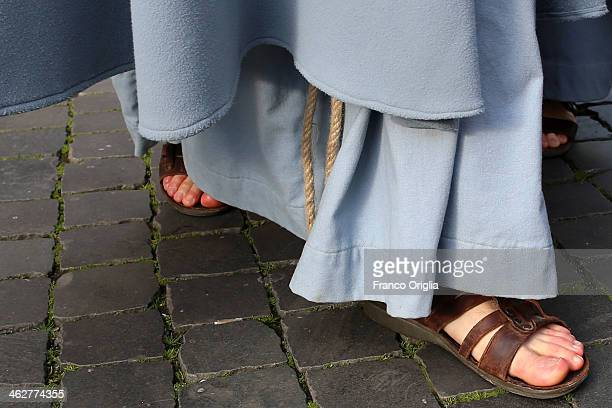A franciscan friar walks to St Peter's Square for Pope Francis' weekly audience on January 15 2014 in Vatican City Vatican During the weekly audience...