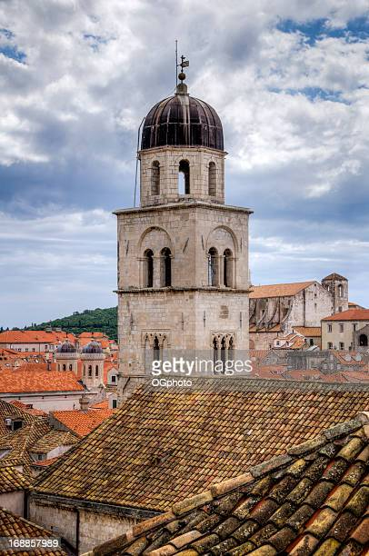 franciscan monastery bell tower in  dubrovnik, croatia. - ogphoto stock photos and pictures