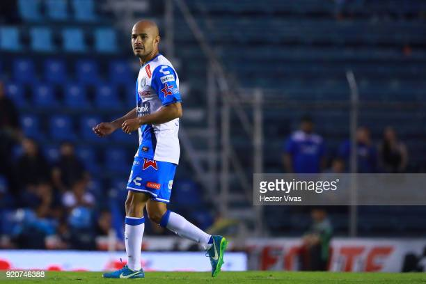 Francisco Acuna of Puebla celebrates after scoring the equalizer during the 8th round match between Cruz Azul and Puebla as part of the Torneo...