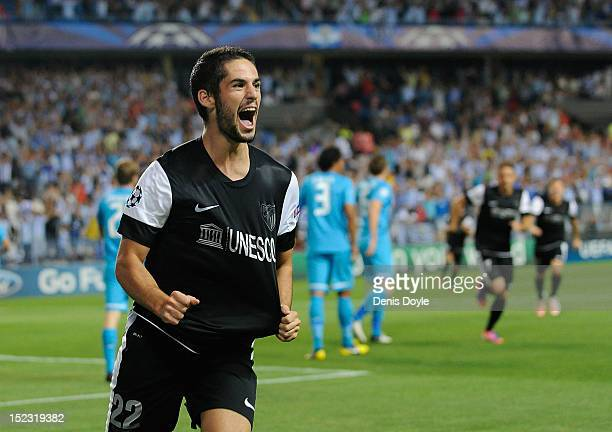 Francisco Alarcon 'Isco' of Malaga CF celebrates after scoring Malaga's opening goal during the UEFA Champions League group C match between Malaga CF...