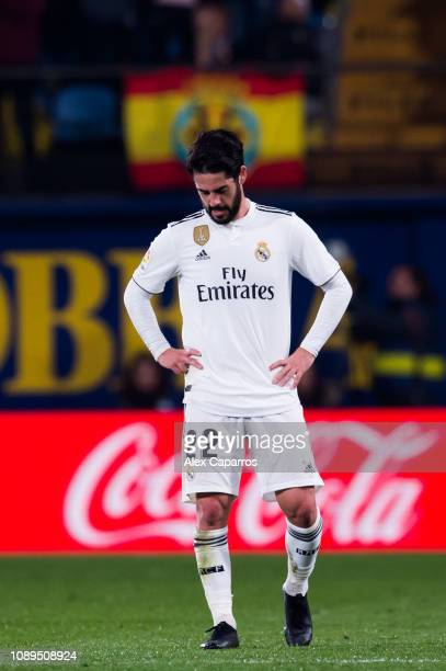Francisco Alarcon 'Isco' of Real Madrid CF looks dejected after Santi Cazorla of Villarreal CF scored his team's second goal during the La Liga match...