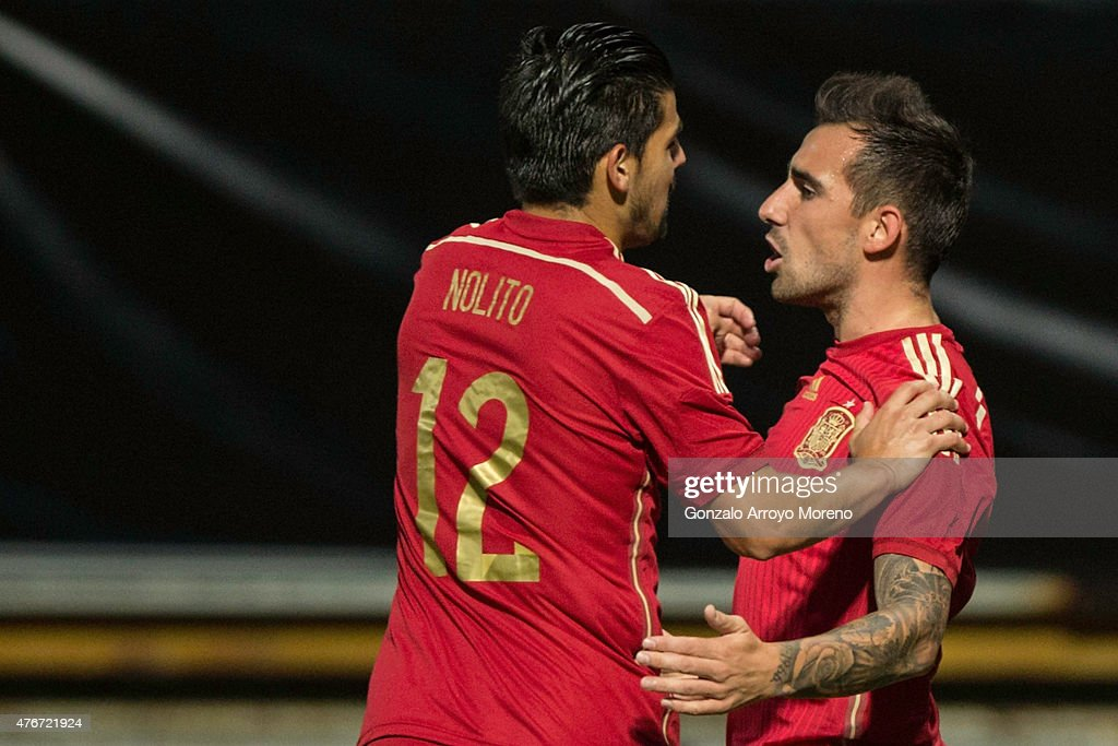 Francisco Alcacer (R) of Spain celebrates scoring their opening goal with teammate Manuel Duran alias Nolito (L) during the international friendly match between Spain and Costa Rica at Reino de Leon Stadium on June 11, 2015 in Leon, Spain.