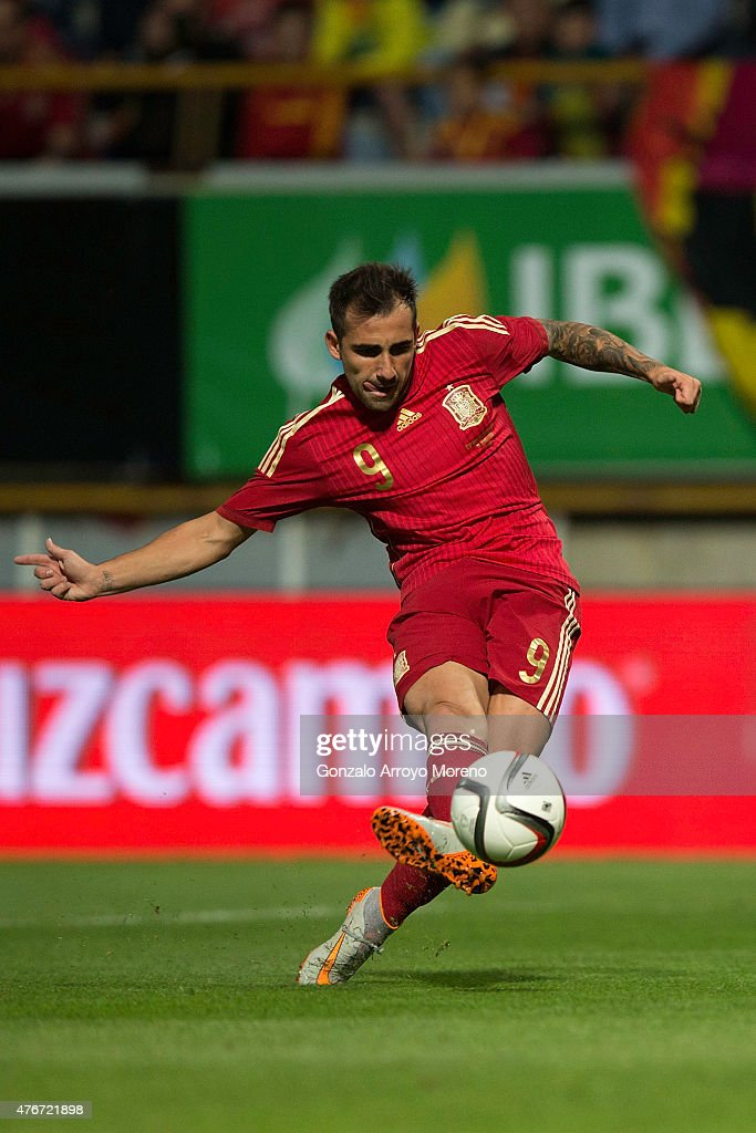 Francisco Alcacer of Spain scores their opening goal during the international friendly match between Spain and Costa Rica at Reino de Leon Stadium on June 11, 2015 in Leon, Spain.