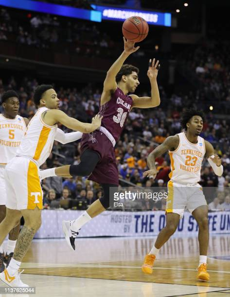 Francisco Amiel of the Colgate Raiders handles the ball during the second half against the Tennessee Volunteers in the first round of the 2019 NCAA...