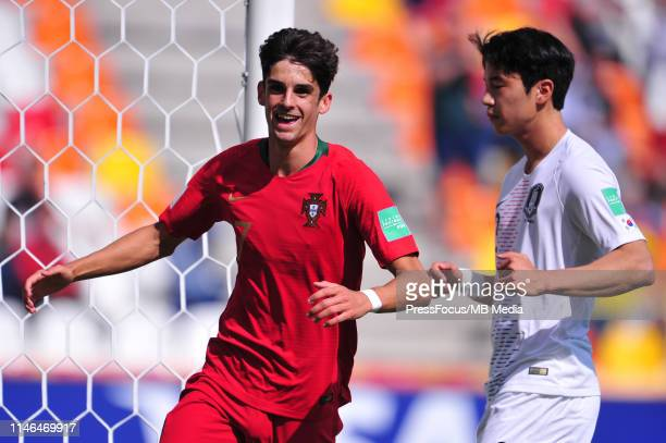 Francisco Antonio Machado Mota De Castro Trincao of Portugal celebrates scoring a goal during the FIFA U20 World Cup match between Portugal and Korea...