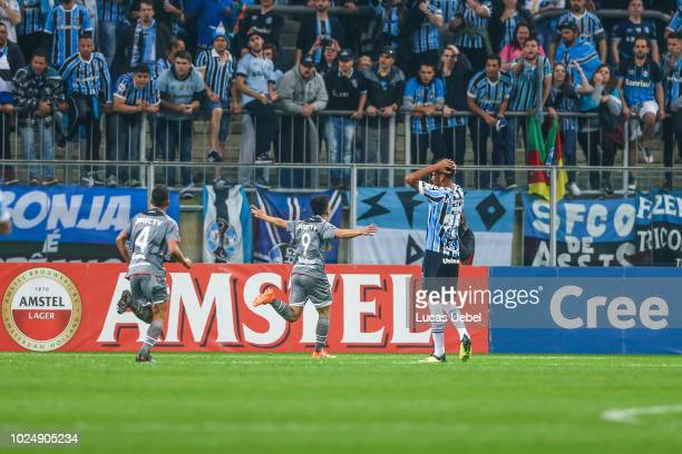 Francisco Apaolaza of Estudiantes celebrates the first goal of his team during the match between Gremio and Estudiantes as part of Copa Conmebol...