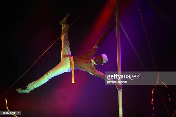 Francisco Arano Aleman of the acrobaticsduo 'The Liazeed' performs during the vaudevilleshow '1001 Nights in Marrakech' on stage of the Roncalli...
