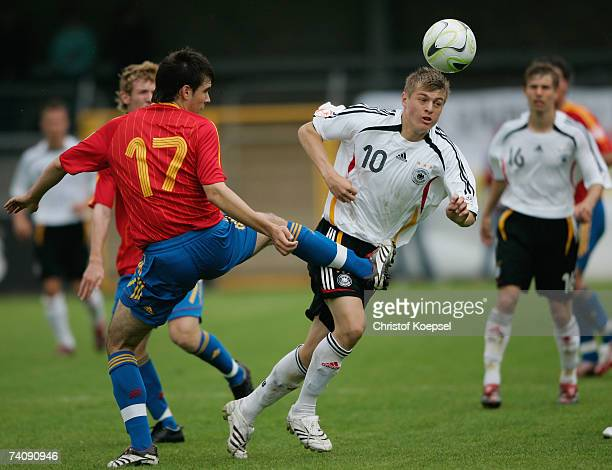 Francisco Atienza Valverde of Spain tackles Toni Kroos of Germany during the 2007 UEFA European Under 17 Championship group A match between Spain and...