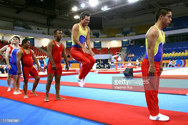 Francisco Barrera of Ecuador jumps during the artistic gymnastics finals warm up of the Athens 2011 Special Olympics World Summer Games on June 28...