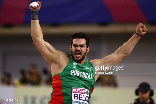 Francisco Belo of Portugal in action during the qualifying round of the men's shotput during day one of the 2019 European Athletics Indoor...