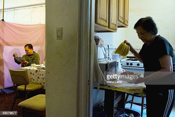 Francisco Boncato sits at the dinner table in his home April 14 2005 in San Francisco He fought the Japanese during WWII as a guerrilla soldier He...
