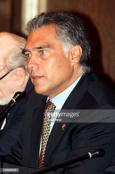 Francisco Boza talks during the presentation of the XIX Sports Minister of America and Iberoamerica Meeting Organized by CID at Hilton Hotel on March...