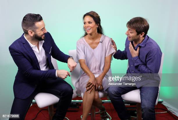 Francisco Caceres Halle Berry and Luis Prieto are seen at Telemundo Studios to promote the film 'Kidnap' on July 24 2017 in Miami Florida