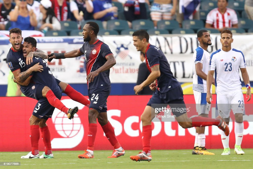 Francisco Calvo #15 and Giancarlo Gonzalez #3 of Costa Rica celebrate an own-goal by Panama in the second half during the 2017 CONCACAF Gold Cup Quarterfinal at Lincoln Financial Field on July 19, 2017 in Philadelphia, Pennsylvania.