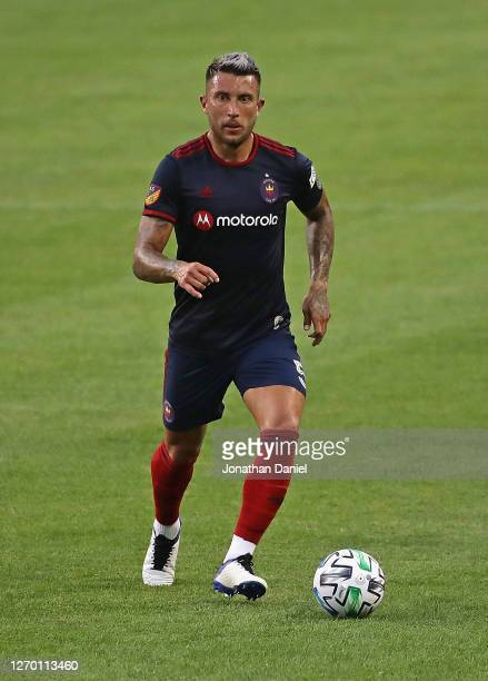 Francisco Calvo of Chicago Fire advances the ball against FC Cincinnati at Soldier Field on August 25, 2020 in Chicago, Illinois. The Fire defeated...