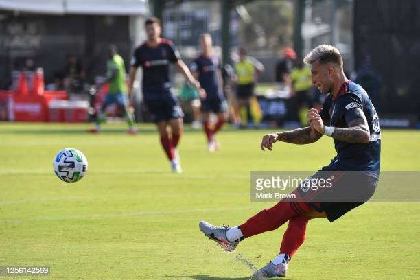 Francisco Calvo of Chicago Fire kicks the ball down the field during a Group B match between Seattle Sounders FC and Chicago Fire FC as part of MLS...