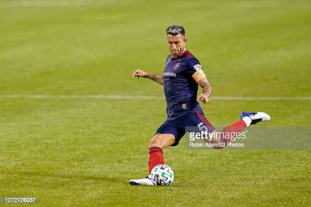 Francisco Calvo of Chicago Fire kicks the ball during a game between New England Revolution and Chicago Fire at Soldier Field on September 06, 2020...
