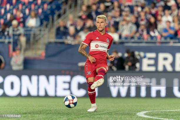 Francisco Calvo of Chicago Fire passes the ball during a game between Chicago Fire and New England Revolution at Gillette Stadium on August 24, 2019...