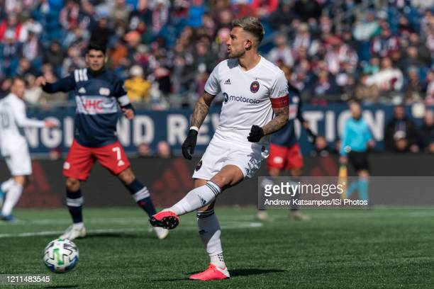 Francisco Calvo of Chicago Fire passes the ball during a game between Chicago Fire and New England Revolution at Gillette Stadium on March 7 2020 in...