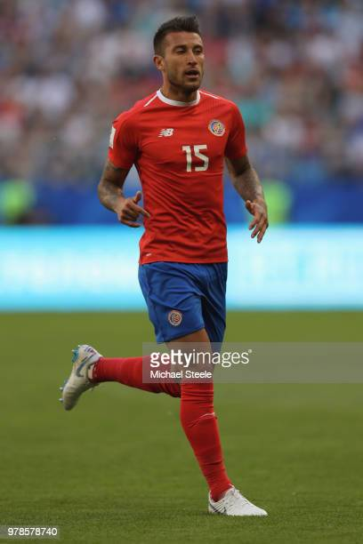 Francisco Calvo of Costa Rica during the 2018 FIFA World Cup Russia group E match between Costa Rica and Serbia at Samara Arena on June 17, 2018 in...
