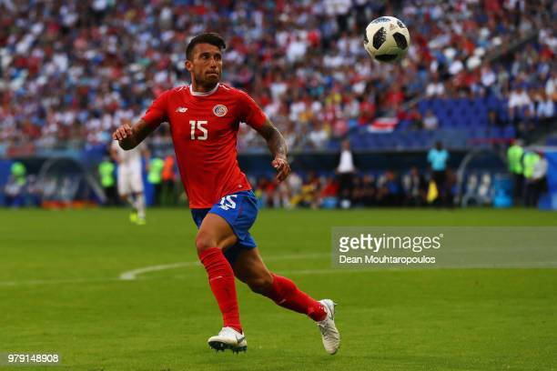 Francisco Calvo of Costa Rica in action during the 2018 FIFA World Cup Russia group E match between Costa Rica and Serbia at Samara Arena on June 17,...