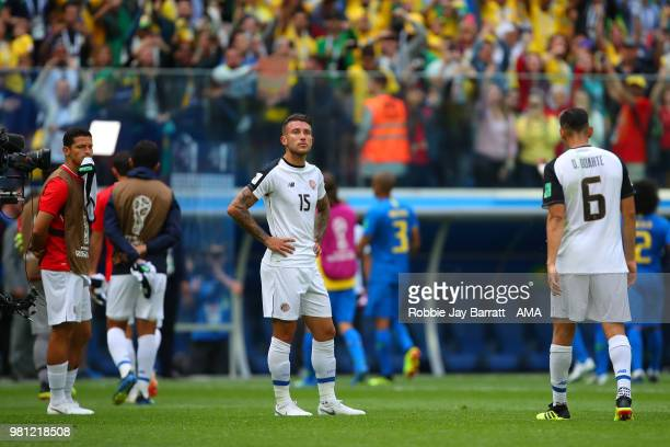 Francisco Calvo of Costa Rica looks dejected at the end of the 2018 FIFA World Cup Russia group E match between Brazil and Costa Rica at Saint...