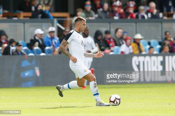 Francisco Calvo of Costa Rica passes the ball during their international friendly match against the United States at Avaya Stadium on February 2,...