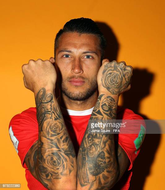 Francisco Calvo of Costa Rica poses during the official FIFA World Cup 2018 portrait session at on June 13, 2018 in Saint Petersburg, Russia.