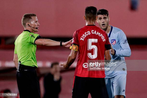 Francisco Campos of Real Mallorca, Alvaro Morata of Atletico Madrid during the Training Holland Women at the Philips Stadium on October 7, 2019 in...